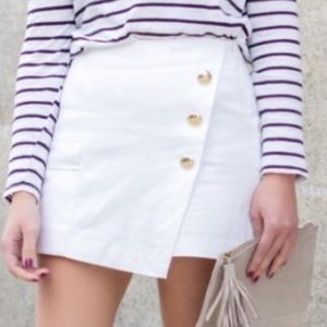 Zara NWT Wrap Skort Shorts High Waist White